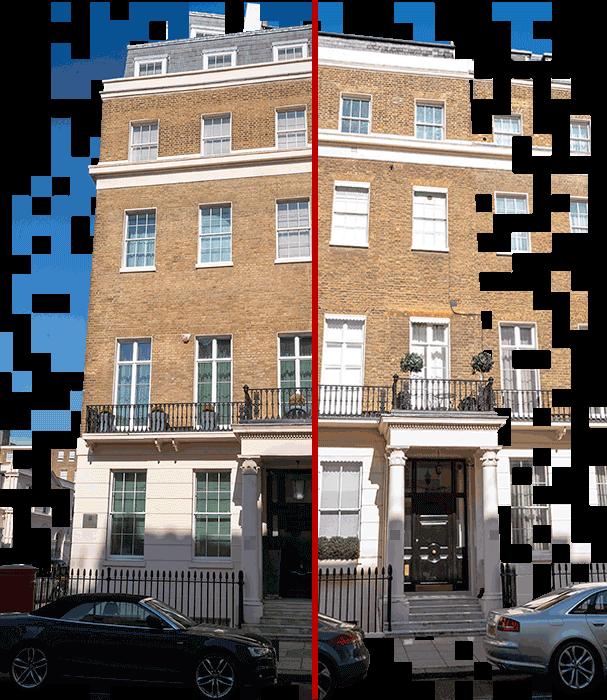 Kral Abdullah Birleşik Krallık'ta da Buckingham Sarayı yakınlarındaki bu iki gayrimenkule yatırım yaptı. Soldaki binanın tamamını, sağdakinden de üç daire satın aldı